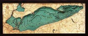 """Lake Erie 3-D Nautical Wood Chart, Medium, 13.5"""" x 31"""" ERIE-D2M"""